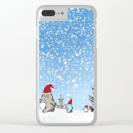 Snow christmas Clear iPhone Case