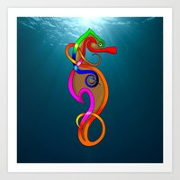 psychadelic Art Prints featuring Psychadelic Seahorse Knot by Knot Your World