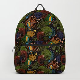 Jungle Pattern with Monkeys, Macaws and colorful Dart Frogs Backpack