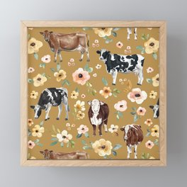 Cows and Flowers Illustration on Golden Yellow  Framed Mini Art Print