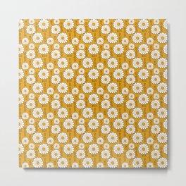 Small Harry Sunflower Shirt Flower Print Hippie Pop Art Floral Pattern Metal Print
