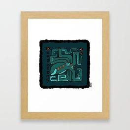 Kraken Glyph (Abyssal Background) Framed Art Print