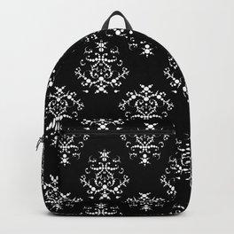 Venetian Damask, Ornaments, Swirls - Black White Backpack