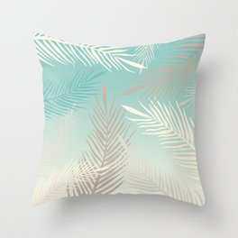 Palm leaves in soft bluish pastel colors Throw Pillow