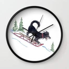 Dog Sledding 1 Wall Clock