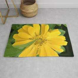 Lucious Yellow Zinnia Flower With Lush Leaves Rug