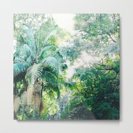 Lost in the jungle bright green tropical palm tree forest photography Metal Print