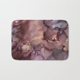 Ink Swirls Painting Lavender Plum Gold Flow Bath Mat