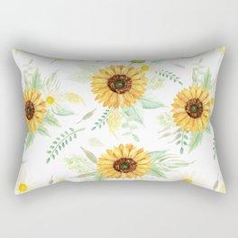 Watercolor Sunflower Bouquets | Pattern | Art Rectangular Pillow