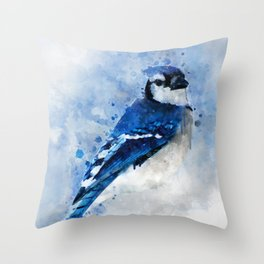 Watercolour blue jay bird Throw Pillow