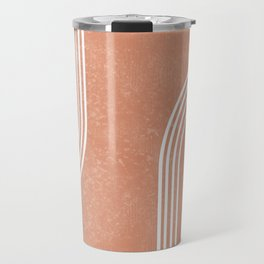 Mid Century Modern 2 - Geometrical Abstract - Minimal Print - Terracotta Abstract - Burnt Sienna Travel Mug