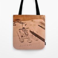 r2d2 Tote Bags featuring R2D2 by radiantlee
