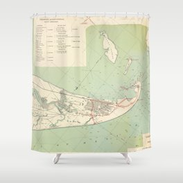Vintage Map of Galveston TX Fortifications (1895) Shower Curtain