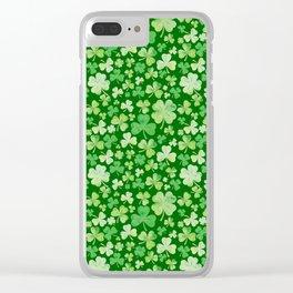 Lucky Green Watercolour Shamrock Pattern Clear iPhone Case
