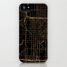 Black and gold Indianapolis map iPhone Case