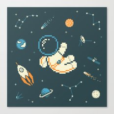 Lil Astronaut Pattern (8bit) Canvas Print