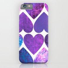 Mod Purple & Blue Grungy Hearts Design Slim Case iPhone 6s