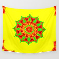 Lovely Healing Mandalas in Brilliant Colors: Red, Yellow, and Green Wall Tapestry