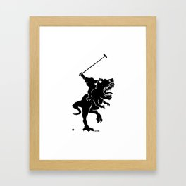 Big foot playing polo on a T-rex Framed Art Print
