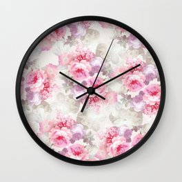 Elegant blush pink lavender ivory romantic roses floral Wall Clock