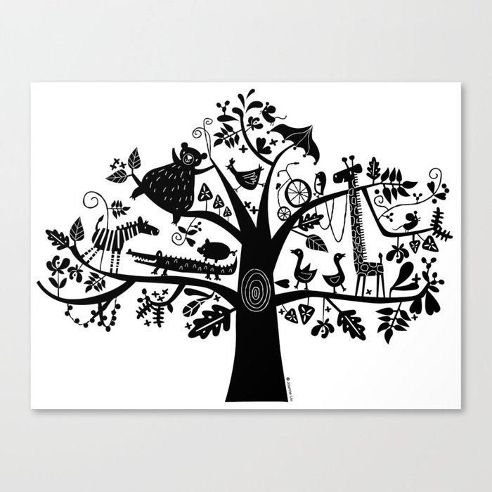 :) animals on tree Canvas Print