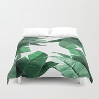 palm Duvet Covers featuring Tropical Palm Print by Tamsin Lucie