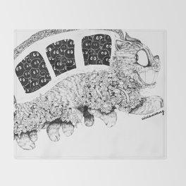 Studio Ghibli Cat Bus Black & White Zentangle Drawing Doodle Throw Blanket