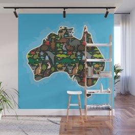 map of Australia. Wombat Echidna Platypus Emu Tasmanian devil Cockatoo kangaroo dingo octopus fish Wall Mural