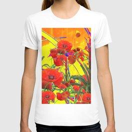 MODERN TROPICAL FLOWERS GARDEN DESIGN IN YELLOW-ORANGE COLORS T-shirt