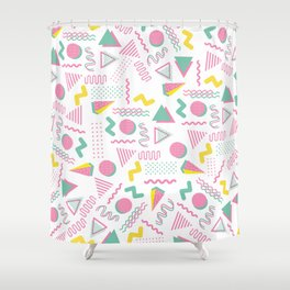 Abstract retro pink teal yellow geometrical 80's pattern Shower Curtain