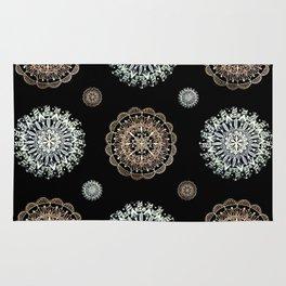 Rose Gold and Silver Mandala Textile on Black Rug