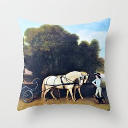 12,000pixel-500dpi - Phaeton With A Pair Of Cream Ponies And A Stable-lad - George Stubbs Throw Pillow