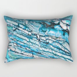 Blue Marble with Black Rectangular Pillow