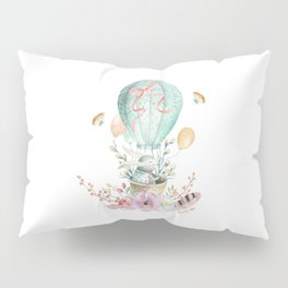 Whimsical Bunny in a Balloon Watercolor Design Pillow Sham
