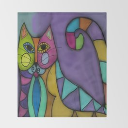Cat of Many Colors Abstract Digital Painting  Throw Blanket