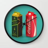 whisky Wall Clocks featuring Whisky Cola by Maxim Kirienko Art