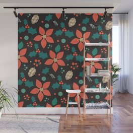 Deck the Halls - Black Background (Patterns Please) Wall Mural