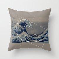 fibonacci Throw Pillows featuring Hokusai Meets Fibonacci by Vi Sion