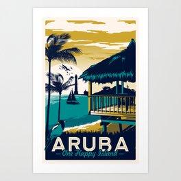 aruba vintage travel poster Art Print