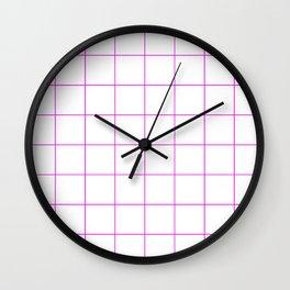 Graph Paper (Magenta & White Pattern) Wall Clock