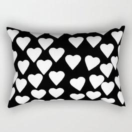 Hearts White on Black Rectangular Pillow