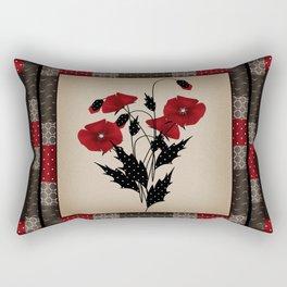 Flowers Art Poppies. Patchwork Rectangular Pillow