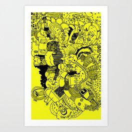 Caos in Yellow Art Print