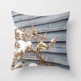 Snowy Flowers Throw Pillow