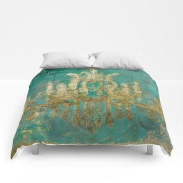 Gold and Peacock Chandelier Comforters