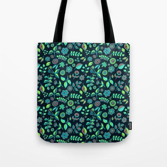 Neon Nature Doodles on Dark Denim Tote Bag