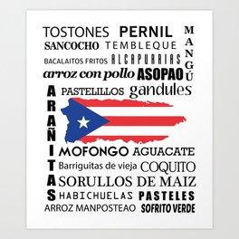 Puerto Rico food & Dishes boricua Art Print