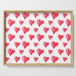 Romantic Red Hearts Serving Tray