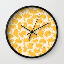 Yellow Cats Pattern Wall Clock