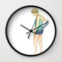 allyson johnson Wall Clocks featuring Nicola Johnson. by laya rose